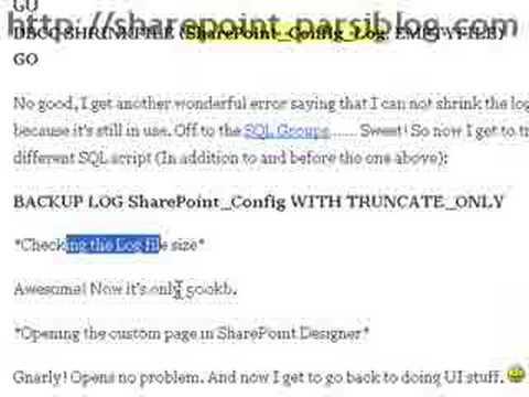 Sharepoint Protal Server 2007 & SQLServer log database error