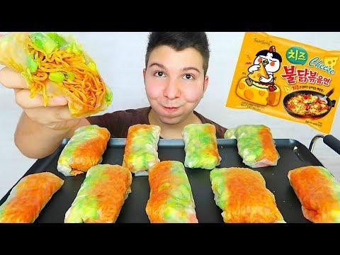 Cheesy Spicy Ramen Noodle Spring Rolls 불닭볶음면 • MUKBANG