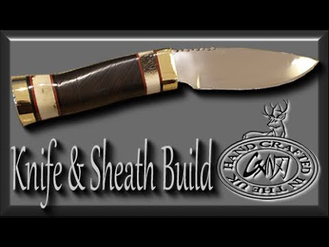 SKINNING KNIFE & SHEATH BUILD - START TO FINISH, WALNUT, BRASS AND DEER ANTLER
