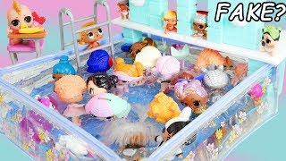 Download Pool Party in Barbie Waterfall Pool with FAKE LOL Surprise Dolls Boy Series Fuzzy Pets Video