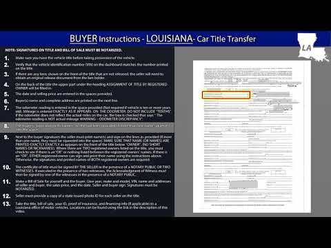 Louisiana BUYER - Title Transfer Instructions
