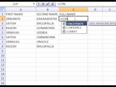 Excel TELUGU  Tutorial CONCATENATE Function