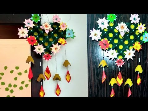 How To Make Wall Hanging From Egg Tray And color paper / Easy Egg Carton Craft/ Recycled Home Decor