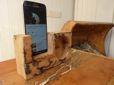 DIY Phone Holder Speaker from FREE Wood Pallets Bonus Lichtenberg Fractal