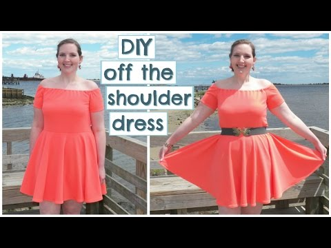 DIY Off The Shoulder Skater Dress (Stretch Fabric + Circle Skirt) | How to Sew Easy