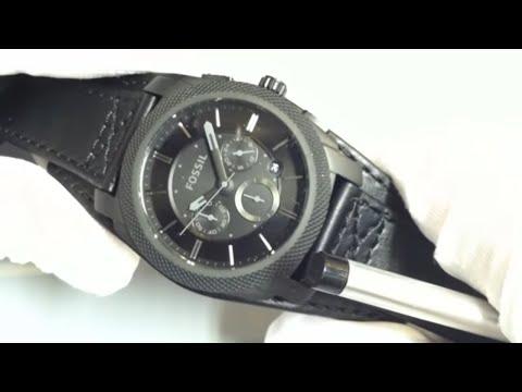 Men's Black Fossil Machine Chronograph Cuff Watch FS4617