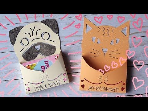 Cute Cat & Pug Candy Holder Valentine Card Tutorial