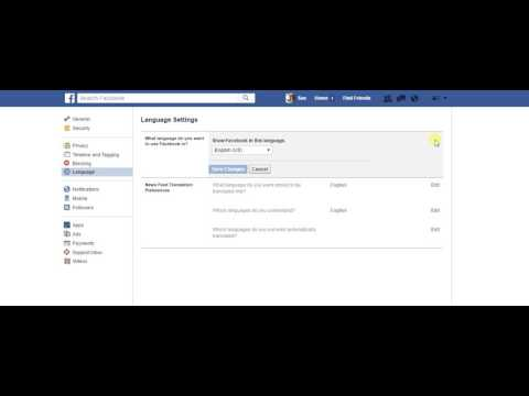 How to change the language setting on Facebook
