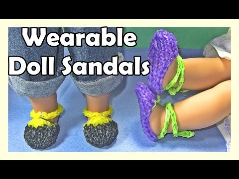 Rainbow Loom Charms Doll Sandals (Wearable AG Doll, DIY Mommy)