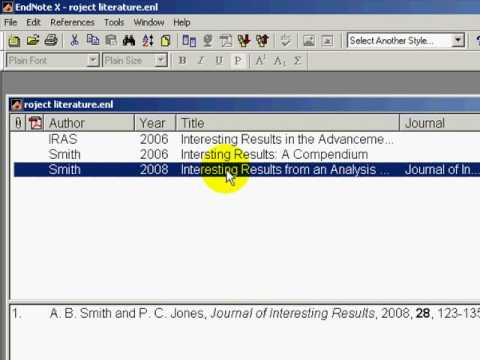 MS Word 2007 and Endnote Referencing Software