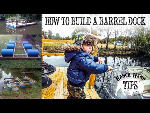 How to build a floating barrel dock from 55 Gallon Blue Tight Head Plastic Drums- Ranch Hand Tips