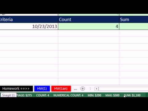 Office 2013 Class #21: Excel Basics 03: Count & Add: COUNT, COUNTA, SUM, COUNTIFS, SUMIFS functions