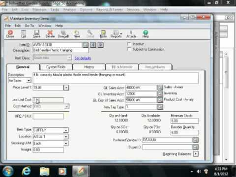 Sage 50 Tutorial Entering Inventory Sage Training Lesson 5.5