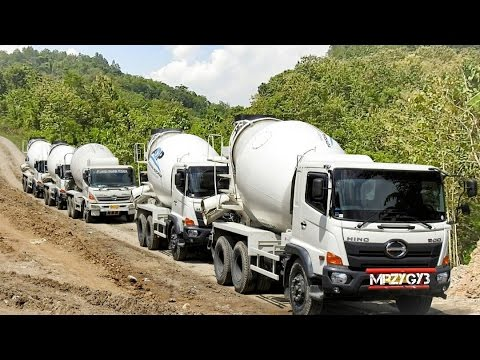 Ready Mix Concrete Mixer Truck Working On The Steep Site
