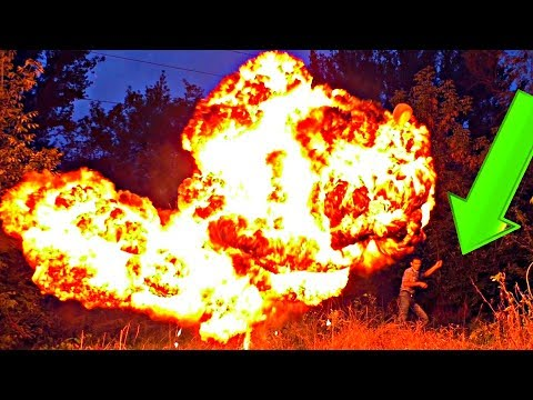 CARBIDE, WATER and HUGE BALLOONS a hollywood explosion with lots of flame. Also MAD SCIENCE