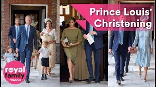 The Royal Family and guests arrive for Prince Louis