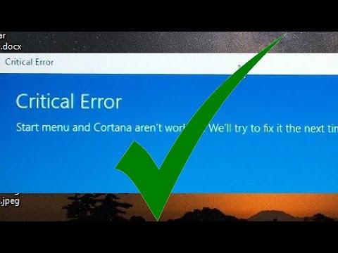 Solved! Critical Error - Start Menu and  Cortana not working Windows 10. reset windows 10