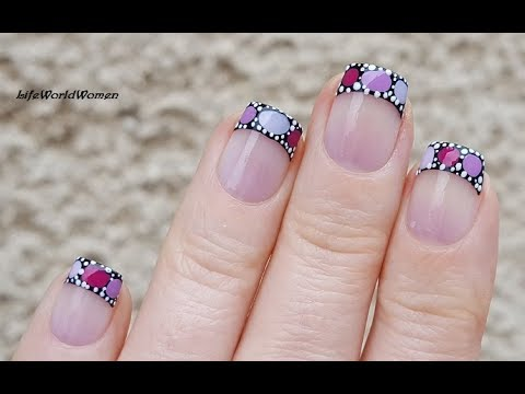 FRENCH MANICURE DESIGNS #10 / Black Based Blobbicure Nail Tips