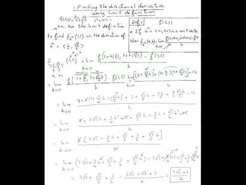 Directional derivatives (find using the limit function)