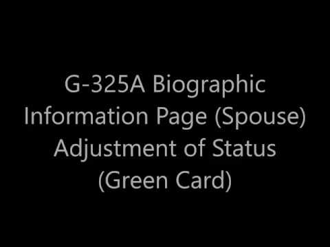 G 325A Biographic Information (Spouse) Adjustment of Status (Green card)