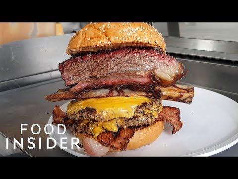 Burger Stacked With Smoked Short Rib And Bacon