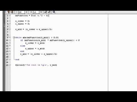 MATLAB Tutorial Part 6 Bisection Method Root finding