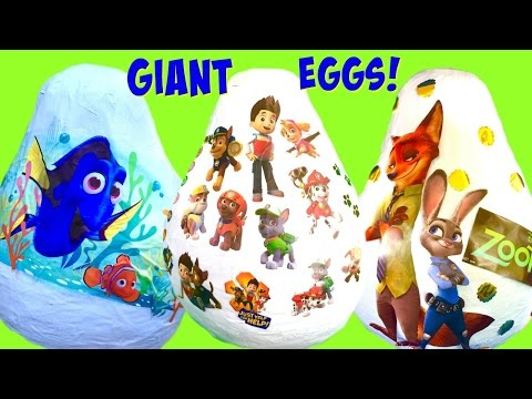 Giant Disney Finding Dory, Paw Patrol and Zootopia Toy Surprise Eggs!