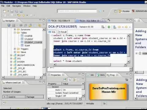 SAP HANA Studio Tutorial 22 - Right/Left Outer Joins of Three Tables