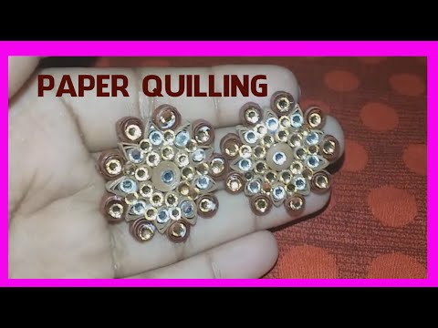 How to make STUD EARRINGS with quilling paper  - Earrings - Making Video Tutorial !