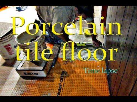 Porcelain tile floor installation on Schluter Ditra Time Lapse
