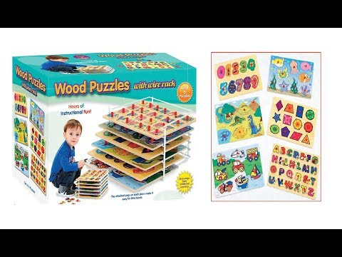6 Educational Wood Puzzles with Wire Storage Rack