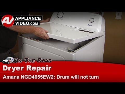 Amana, Whirlpool & Kenmore Dryer - Drum will not turn - Diagnostic & Repair - NGD4655