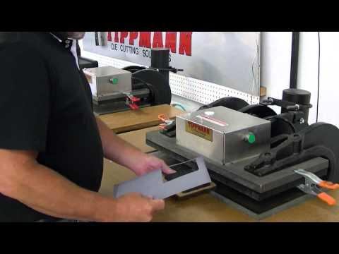 Tippmann Clicker Steel rule die cutting press cutting thin aluminum using a  steel rule cutting die.