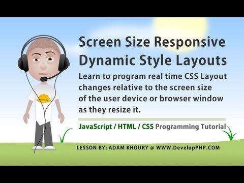 Window Size Responsive CSS Layout Stylesheet Change JavaScript Tutorial
