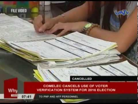 COMELEC cancels use of voter verification system for 2016 election