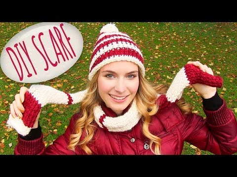 How to Knit a Scarf! DIY Scarf and a Round Knitting Loom. For Knitting or Crochet Beginners
