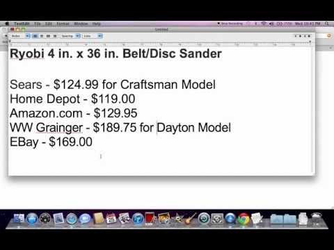 Ryobi 4 Inch Belt Disc Sander For Sale - Home Depot & eBay Price Comparison