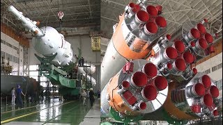 Assembly Of the Soyuz-FG Rocket (Soyuz MS-05 - Expedition 52/53)