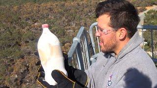 LIQUID NITROGEN Vs COCA-COLA 45m Drop Test Experiment!   How Ridiculous