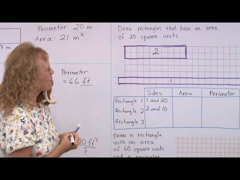 Area and perimeter problems - rectangular shapes - 3rd/4th grade math