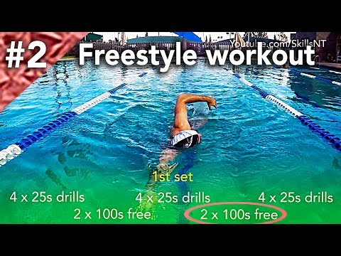 Freestyle swimming workout #2. Technique, distance per stroke and speed. Beginners