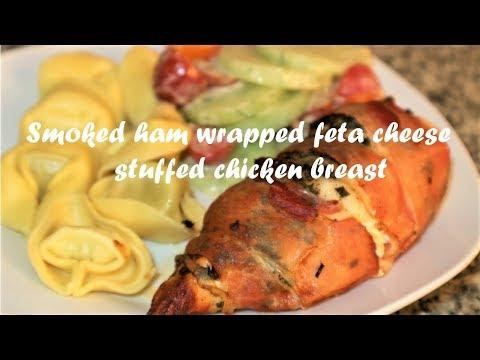 Smoked ham wrapped feta cheese stuffed chicken breast recipe