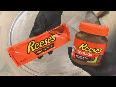 Reese's Ice Cream Rolls | how to make Reeses peanut butter chocolate spreads and cups to ice cream