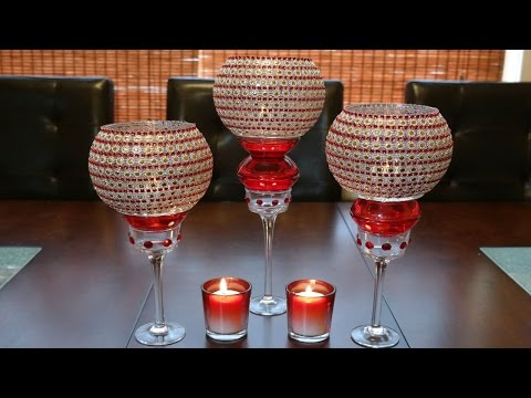 Centerpiece ideas: Red decorative glass candleholder centerpiece