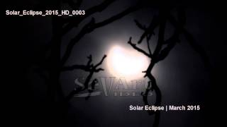 UHD Ultra HD 4K Video Stock Footage Partial Solar Eclipse 20 March 2015 Full Scary Moon Over Sun Day