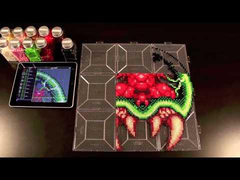 Samus vs. Giant Metroid Perler Bead Sprite using Bead It! HD version 1.4!  (Grid lines!)