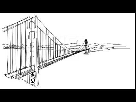 Golden Gate Bridge Outline Animation Hand Drawn Sketch Build Up