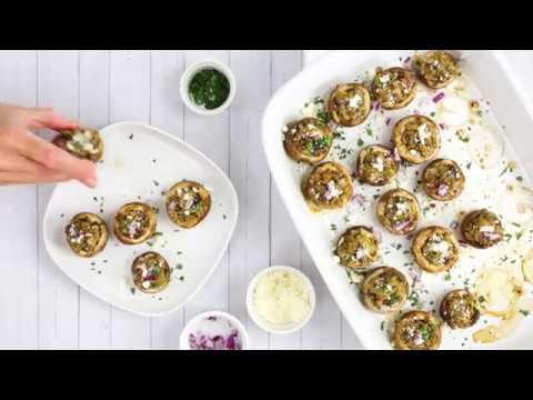 Olive and Feta Stuffed Mushrooms