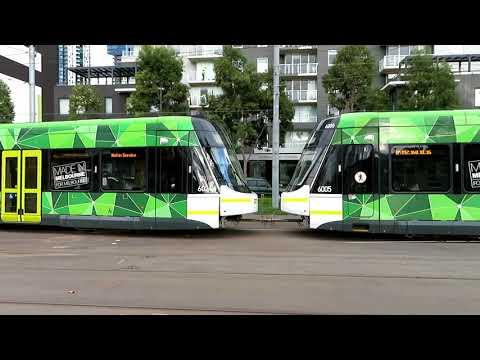 Melbourne Trams - E Class Tram pushing another E Class Tram Port Junction