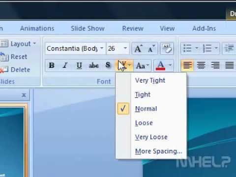How to adjust the spacing between characters on a slide PowerPoint